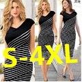 3XL de Las Mujeres Vestido de Verano 2016 Sexy Hip Vestido de Lápiz de la Raya Plus Size Casual Partido Vestido Largo Vestido de Maxi festa
