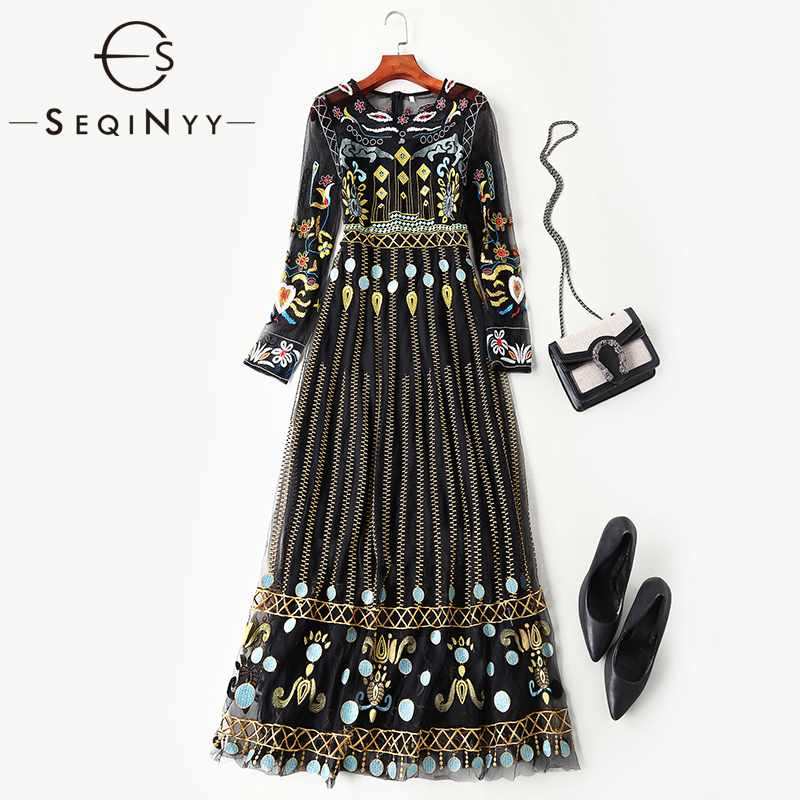 SEQINYY Elegant Long Dress 2019 Summer Spring Fashion Design Long Sleeve Flowers Luxury Embroidery High Quality