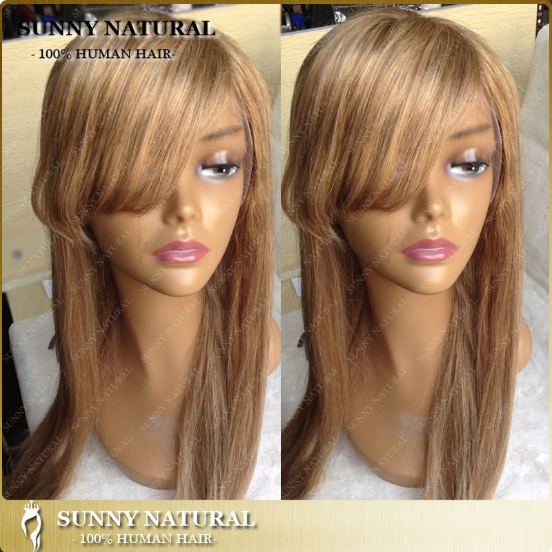 Light Brown 6 Indian Hair Lace Front Wigs Human Hair Full