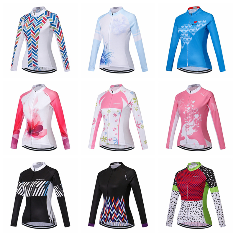 2018 Women Cycling Jerseys Long Sleeve Female MTB Top Bicycle Sportswear Clothing Bike Shirt Cycle Clothes Ropa Ciclismo Maillot