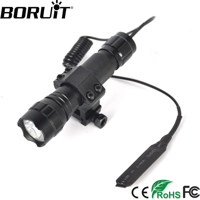все цены на BORUiT 1200LM XML T6 LED WF-501B Tactical Flashlight Aluminum Portable Gun Lantern Torch Light by 18650 Rechargeable Battery онлайн