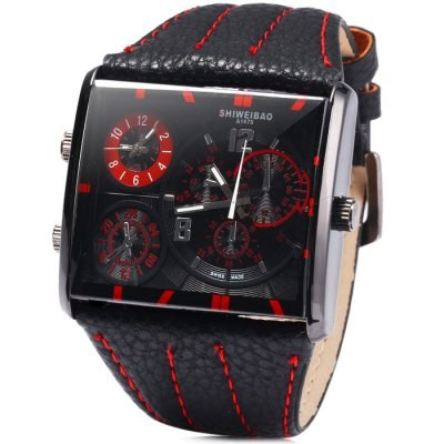 Mens Shiweibao Watch Mothership Leather 3 Dual Time Chronograph Date