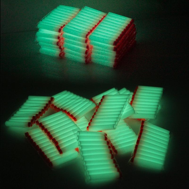 50pcs Fluorescence Toy  Gun Luminous Bullets For Nerf Series Blasters Refill Clip Darts EVA Soft Bullets Glow In The Dark