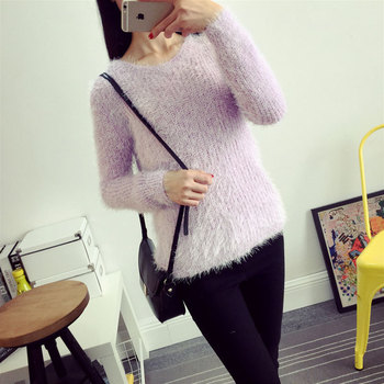 2016 Women Candy Colors Sweaters Fashion Autumn Winter Warm Mohair O-Neck Pullover Long Sleeve Casual Loose Sweater Knitted Tops 1