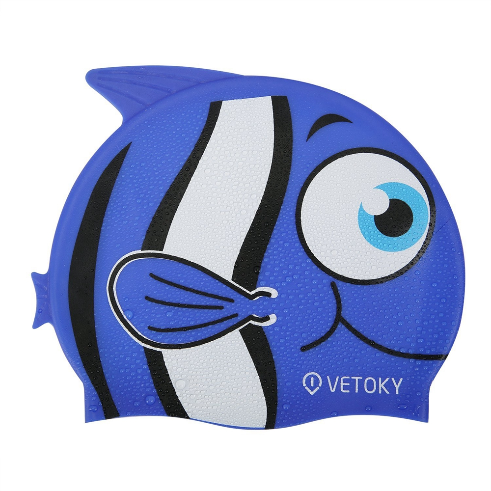 blue fish swimming caps