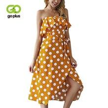 GOPLUS Polka Dot Ruffle Off Shoulder Dress Women Summer Sexy Strapless Sleeveless Midi 2019 Elegant Beach Vestidos Female