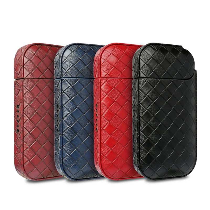 Portable Woven Pattern PU Leather Carrying Pouch Protective Cover Case Bag For IQOS 2.4 Plus Electronic Cigarette Vape Accessori
