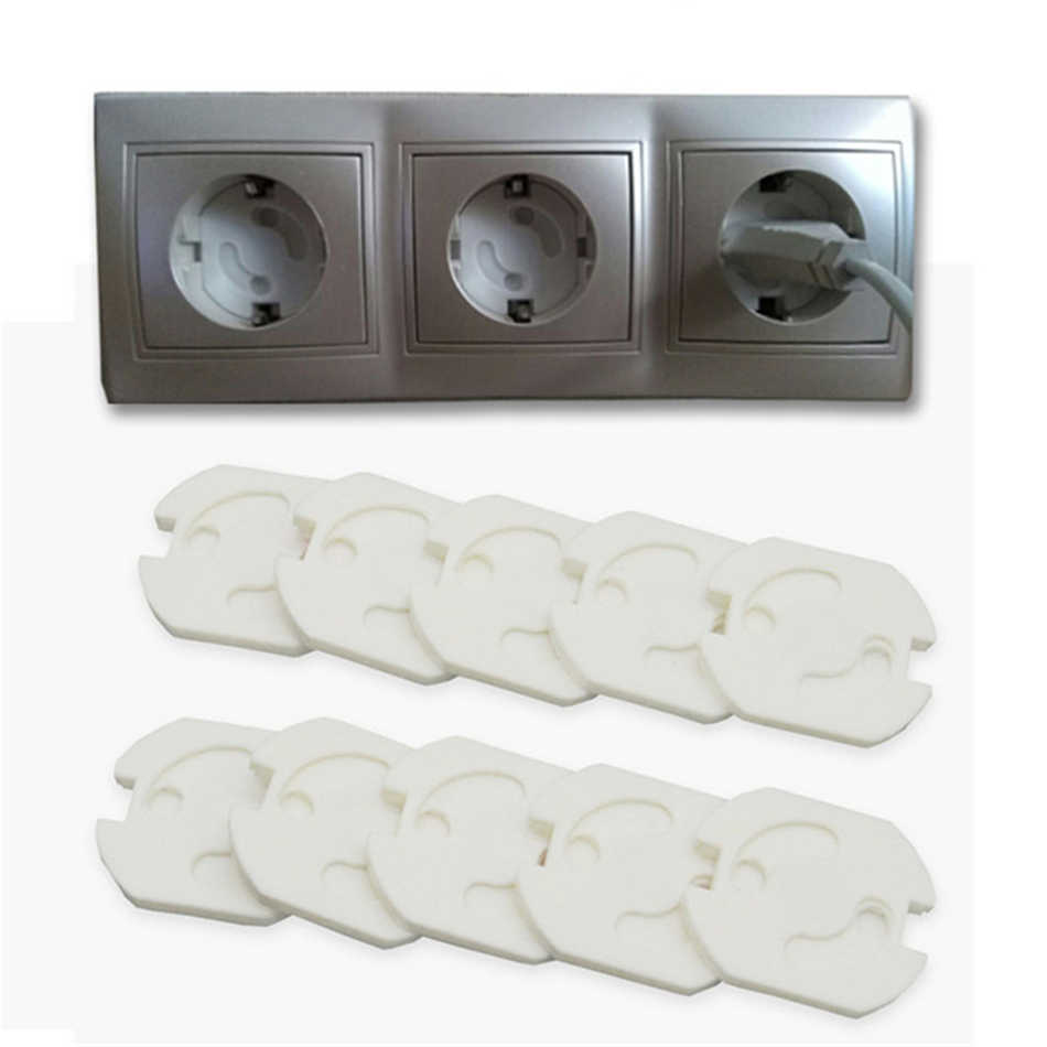10pcs Baby Safety Rotate Cover 2 Hole Round European Standard Children Anti Electric Protection Socket Plastic Security Locks