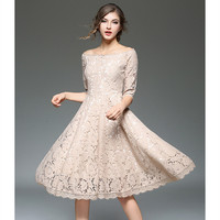 HANZANGL New Arrive 2018 Spring Summer Womens Elegant Sexy Floral Crochet Hollow Out Lace Dress Casual