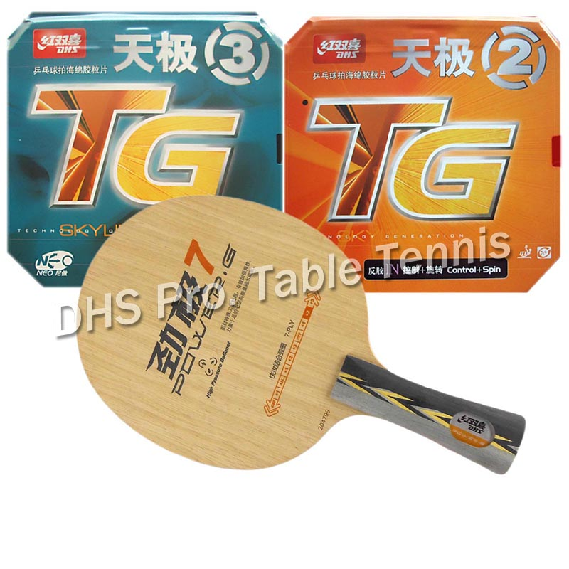 DHS Pro Combo Racket POWER.G7 PG7 PG.7 PG 7 + NEO Skyline TG2 and NEO Skyline TG3 Shakehandlong handle FL neo pro