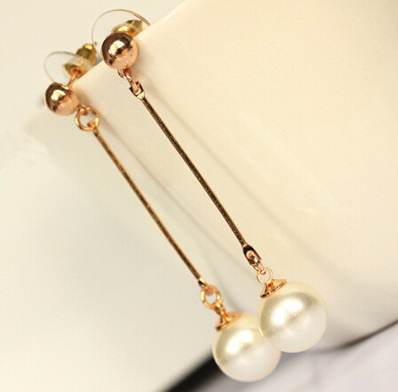 2017 14 Carat Gold Color Plating Pearl Earrings For Women Tel Stud Female