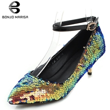 купить BONJOMARISA New Fashion Blings Ankle Strap Pumps Woman Pointed Toe Med Heels Pumps Woman Party Shoes Women Large Size 32-43 дешево