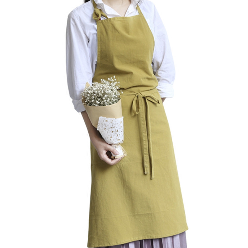 Home & Garden 9 Colors Full Length Cotton Linen Apron Barista Cafe Waitress Bar Bakery Catering Uniform Painter Florist Gardener Work Wear B83 Relieving Heat And Sunstroke