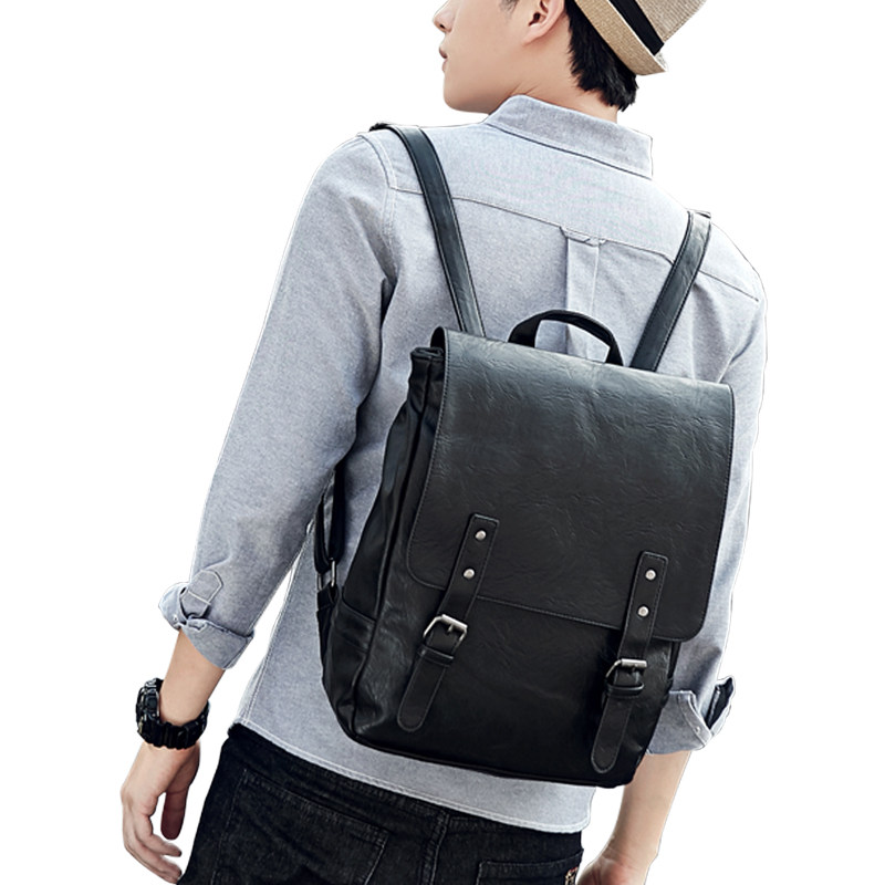 Japan And Korean Trend Preppy Style PU Packsack Backside Zipper Pocket Women Belt Buckle Daypack Men Casual Black Coffee Daypack tept79001 trend ready letters casual style
