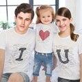 Família roupas combinando pai filho roupa Casual verão t-shirt da camisa de algodão de manga curta roupas família família amor ternos