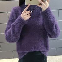 Women 7 Colors Mohair Shaggy Sweater Winter Warm Thermal Thick Sweater Khaki Purple Pink Ladies Jumpers Pullover Top Turtleneck