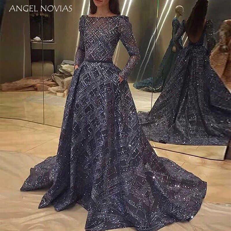 ... ANGEL NOVIAS Long Sleeves Glitter Navy Blue Backless Arabic Evening  Dress 2018 Dubai Formal Evening Gowns. RELATED PRODUCTS. Elegant Muslim  Green ... e2dd86f3664e