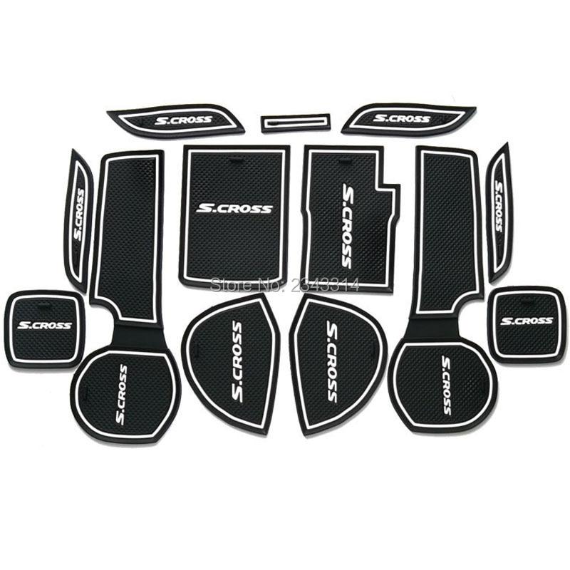 For 2014-2017 2018 Suzuki SX4 S-Cross S Cross Gate Slot Pad Non-slip Cup Mats Anti Slip Door Groove Mat Stickers Car Accessories