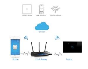"Image 5 - ארה""ב סטנדרטי סוג 120 WiFi חכם מתג אור שליטה זכוכית פנל מגע בקרת eWelink עבודת App עם Alexa הד Google בית"