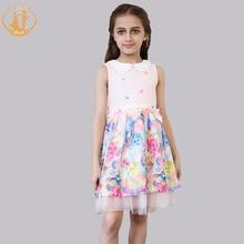 Nimble Summer Fashion Colorful Floral Girls Dress Print Chiffon Ruched Double-layered Sleeveless