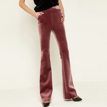 Flare Pants Women Velour Trouser Simple Classic Design Solid Sexy Style 2 Colours New Fashion High Street Autumn 2017
