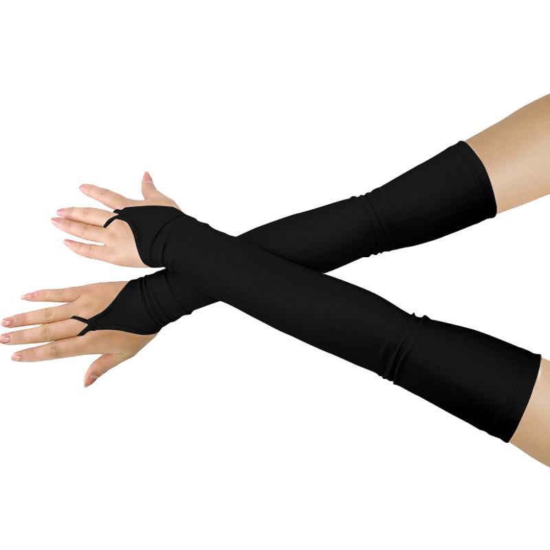 LONG ROYAL BLUE BLACK SPANDEX LACE UP FINGERLESS GLOVES ARM WARMERS
