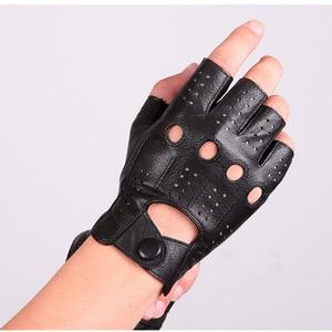 Image 4 - 2018 The Latest High Quality Semi Finger Genuine Leather Gloves MenS Thin Section Driving Fingerless Sheepskin Gloves M046P 5