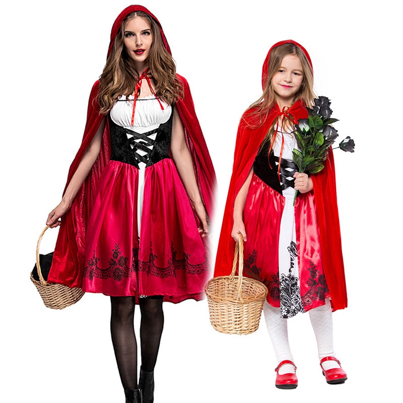 Umorden Halloween Children's Day Party Family Matching Mother Daughter Little Red Riding Hood Costumes for Women Girls Kids