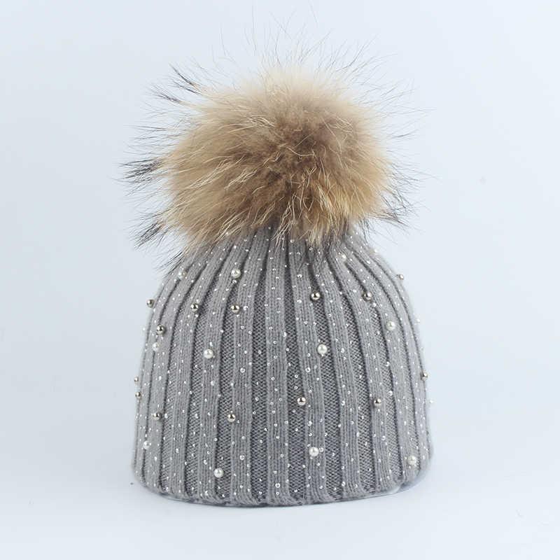 Chapéu Do inverno Para Mulheres Reais Fur Pompom Chapéus de Pele De Coelho Quente Malha Gorros Tampas de Bling Bling