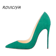 Women Pumps for Wedding Pointed Toe Sexy High Heels Shoes 8 cm 10 12 Stilettos Green Pinkycolor plus size RM002 ROVICIYA