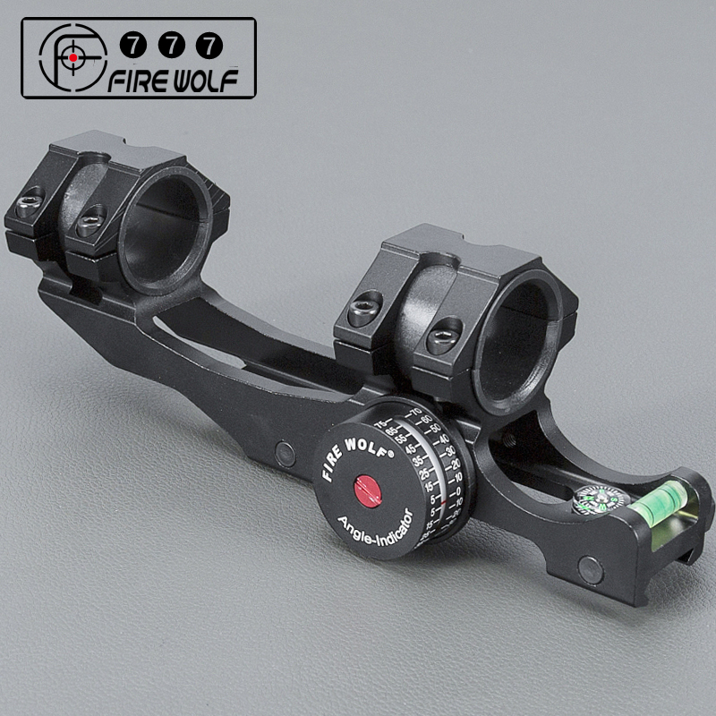 FIRE WOLF 25.4/30mm Scope Ring Base Mount with Angle Indicator and Spirit Buble Level with Compass for Hunting Accessories ...