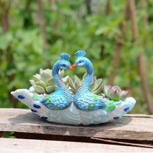 Peacock Shape Ceramic Succulent Plant Pot Office Household Decoration  Creative Mini Flowerpot Garden Supplies(China