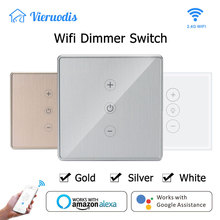Wifi Smart Wall Touch Light Dimmer Switch EU/UK Standard Gold/Silver APP Remote Control With Bulb Works with Alexa&Google Home wifi smart wall touch light dimmer switch ac100 240v10a us eu uk standard free app voice control work with alexa and google home