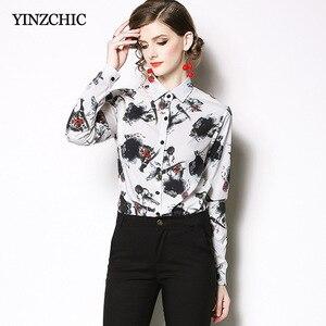 Женская винтажная рубашка, белая, повседневная, с чернильным принтом