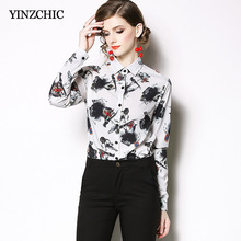 Elegant Womans Spring Blouses Vintage Ink Printed Female Shirt OL Regular White