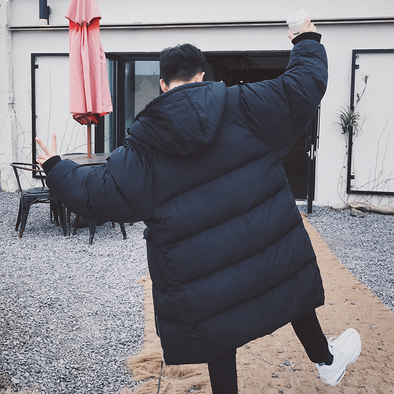 2017 New Winter  Solid Color Youth Male Long Paragraph Coat Large Size Hooded Thick Cotton Jacket  Free Postage male thick in the long paragraph white duck pants cotton men s hair tie hats solid color large size men winter casual jacket