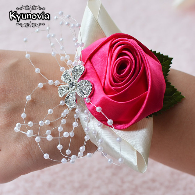 0a41a8fa6ac9 Kyunovia Wedding Prom Corsage Bride Wrist Corsages Flower Pearl Bracelet  Handmade Wrist Flower Bridesmaid Hand Flowers FE22-in Wedding Bouquets from  ...