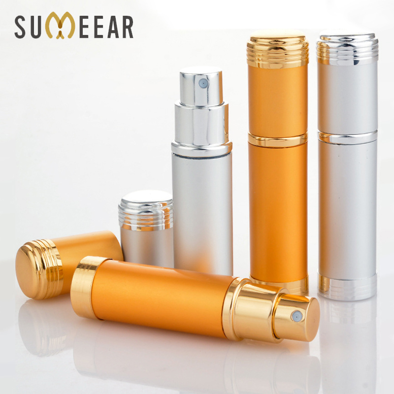 10Piece/Lot 5ML Portable Spray Bottle Aluminum Refillable Glass Perfume Bottle With Sprayer Parfume Empty Cosmetic Containers