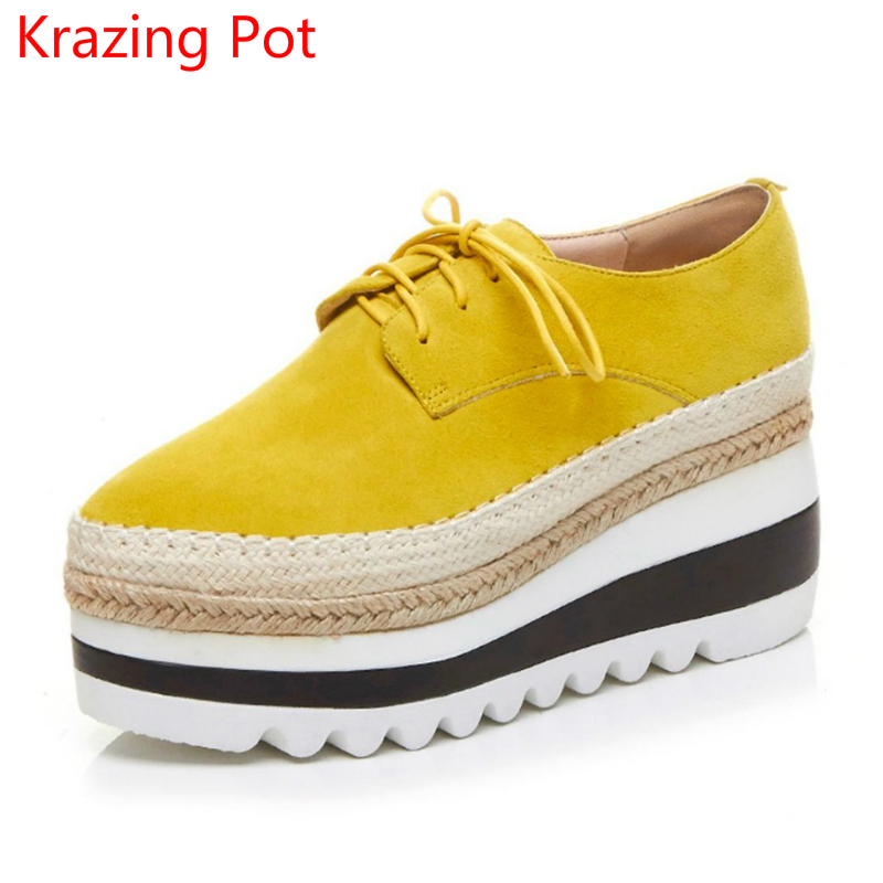 Handmade Brand Shoe Superstar Wedges High Heel Women Increased Round Toe Lace Up Platform Sneaker Classic Women Casual Shoes L55 genuine cow leather spring shoes wedges soft outsole womens casual platform shoes high heel round toe handmade shoes for women