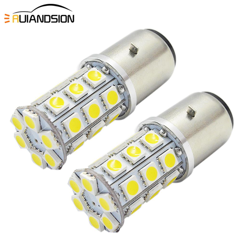 6V 5050 27smd LED Motorcycle Headlight High Low Beam Dual Light 540lm Super Bright 4300k  Motorbike Head Lamp Bulb H6 BA20D 2Pcs