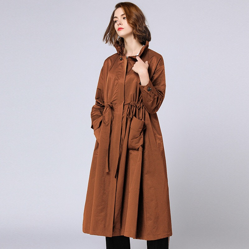 Anya 2018 Winter Maternity Coats Long Woman Coats Pregnancy Clothes Plus Size Outerwear Zipper Pockets Sashes England Style grey two side pockets long sleeves outerwear