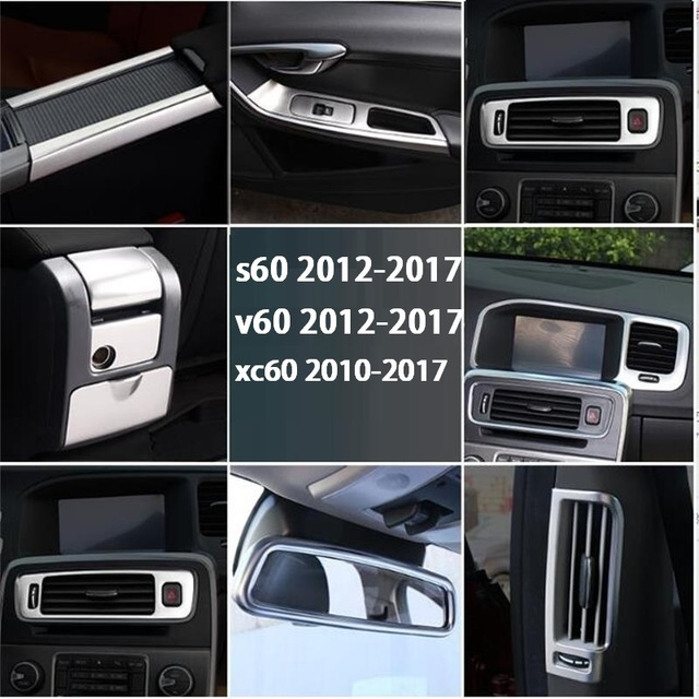 Car Stainless Steel Console Armrest Water Cup Decorative Trim Strip Car Interior Accessories cover Sequin For Volvo XC60 S60 V60