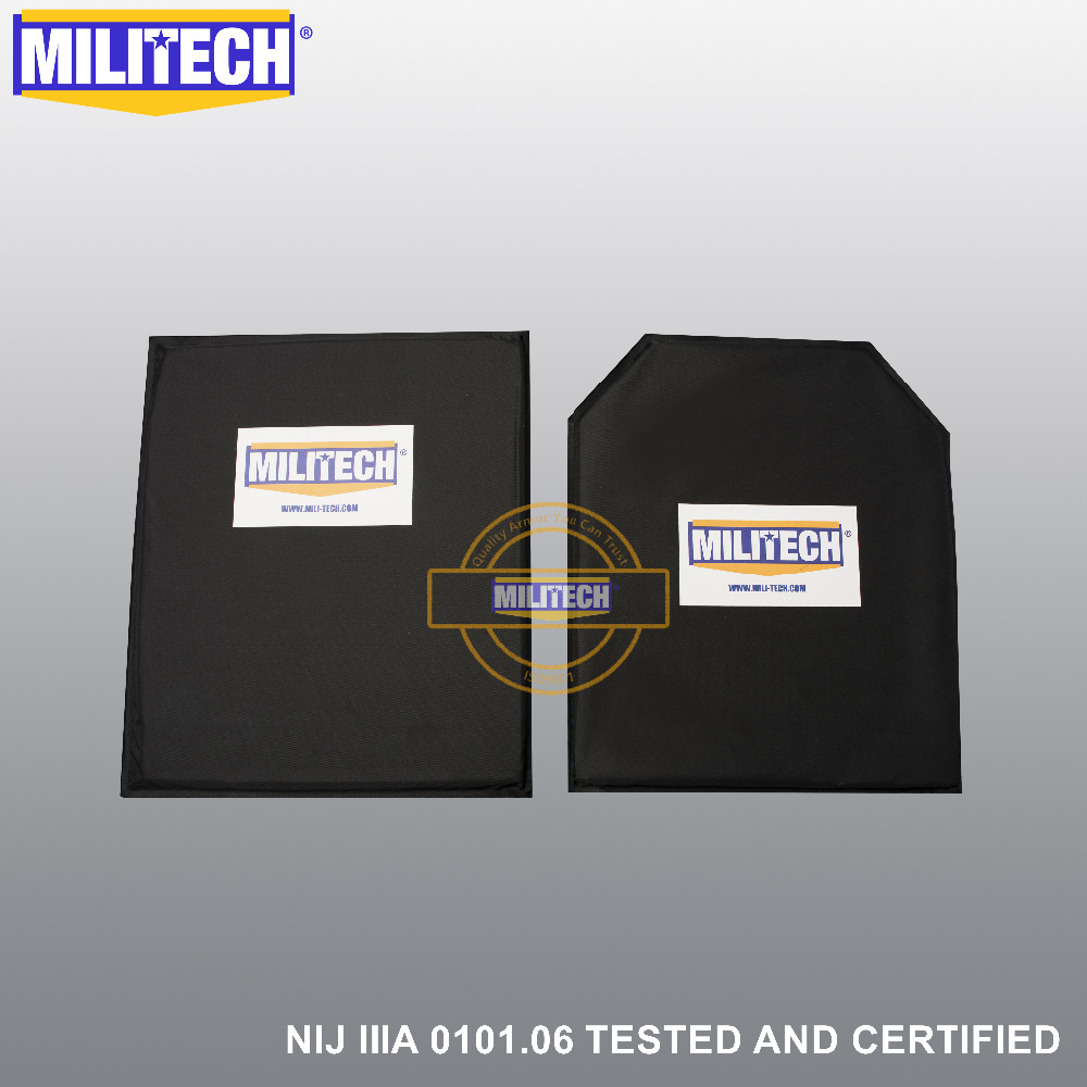 MILITECH 10'' X 12'' SC&STC Cut Pair Aramid Ballistic Panel Bullet Proof Plate Inserts Body Armor Soft Armour NIJ Level IIIA 3A