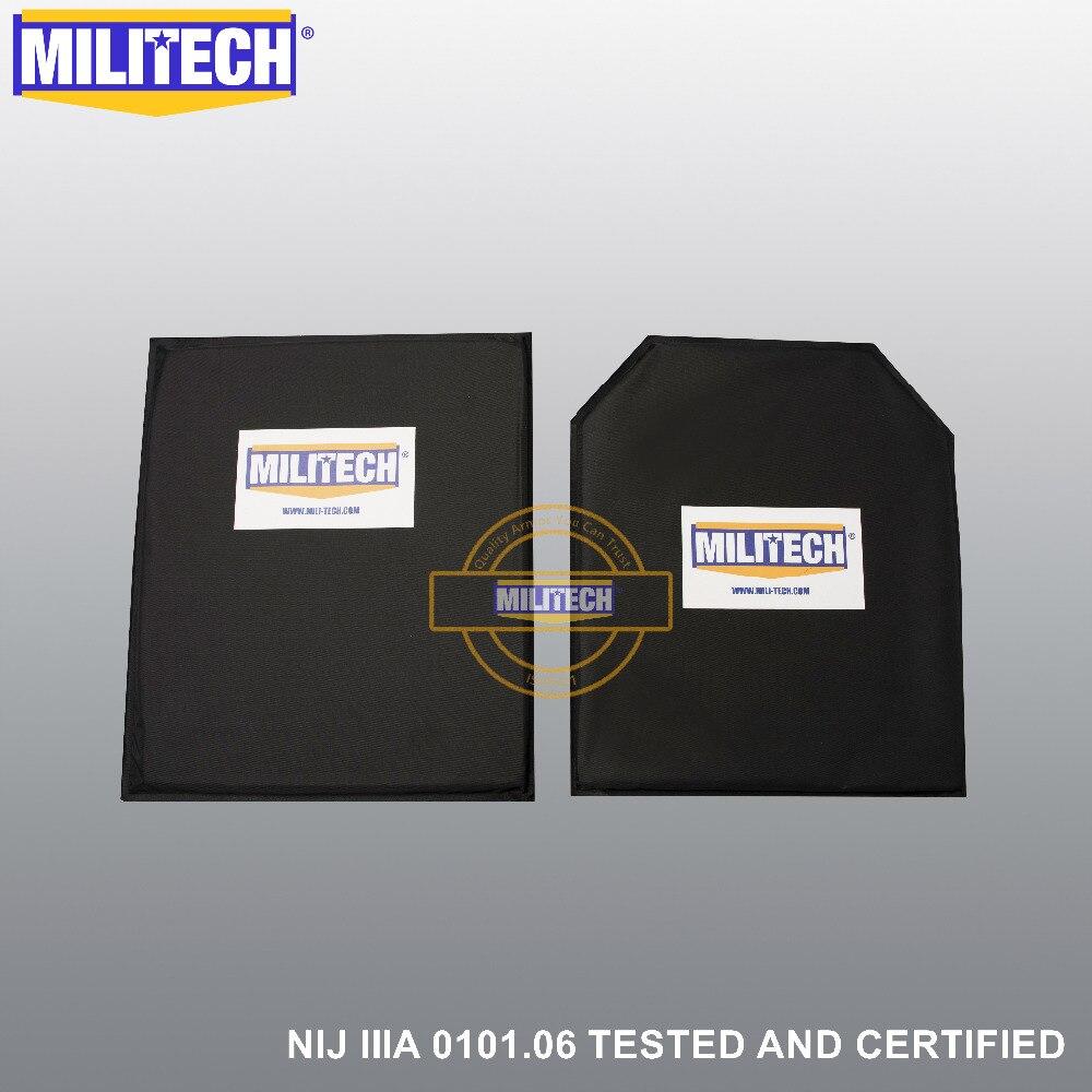 MILITECH 10'' X 12'' SC&STC Cut Pair Aramid Ballistic Panel Bullet Proof Plate Inserts Body Armor Soft Armour NIJ Level IIIA 3A