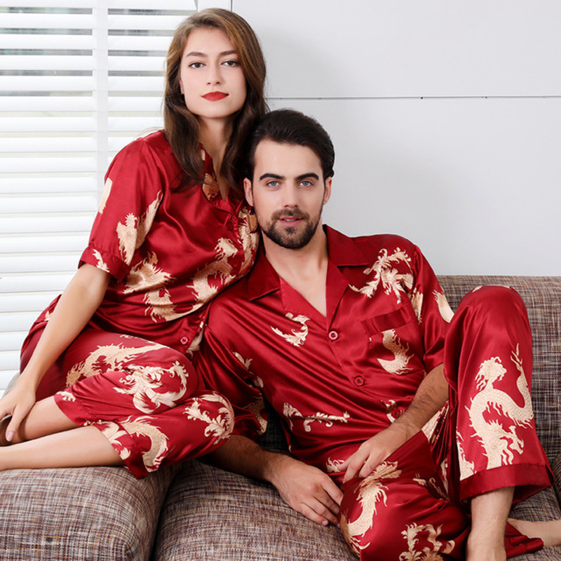 Couple Satin Pajamas Set Short Sleeve Sleepwear Pijama Pajamas Suit Women And Man Sleep 2PC Set Silky Wedding Pyjamas Loungewear