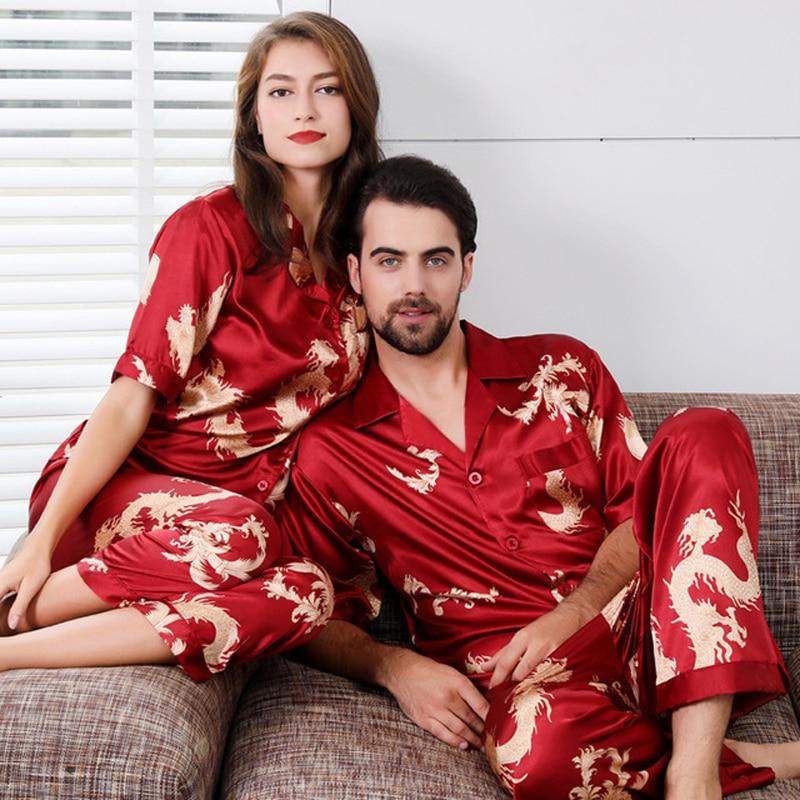 Couple Satin Pajamas Set Short Sleeve Sleepwear Pijama Pajamas Suit Women And Man Sleep 2PC Set Silky Wedding Pyjamas Loungewear