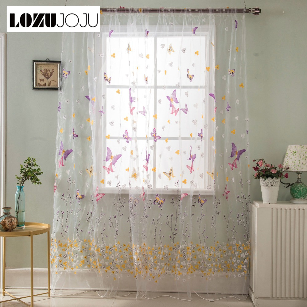Curtains Home Textile Lozujoju Green Room Curtain Modern Tulle Bedroom Sheer Curtains Treatment Rustic Fabrics Short Embroidered Living Kitchen Window