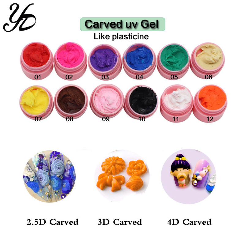 Image 3 - Yiday Multi 12 Colors Soak Off 3D Carved Patterns UV Gel Nail Art Modelling Sculpture Manicure DIY 4D Painting Embossed LED Gel-in Nail Gel from Beauty & Health