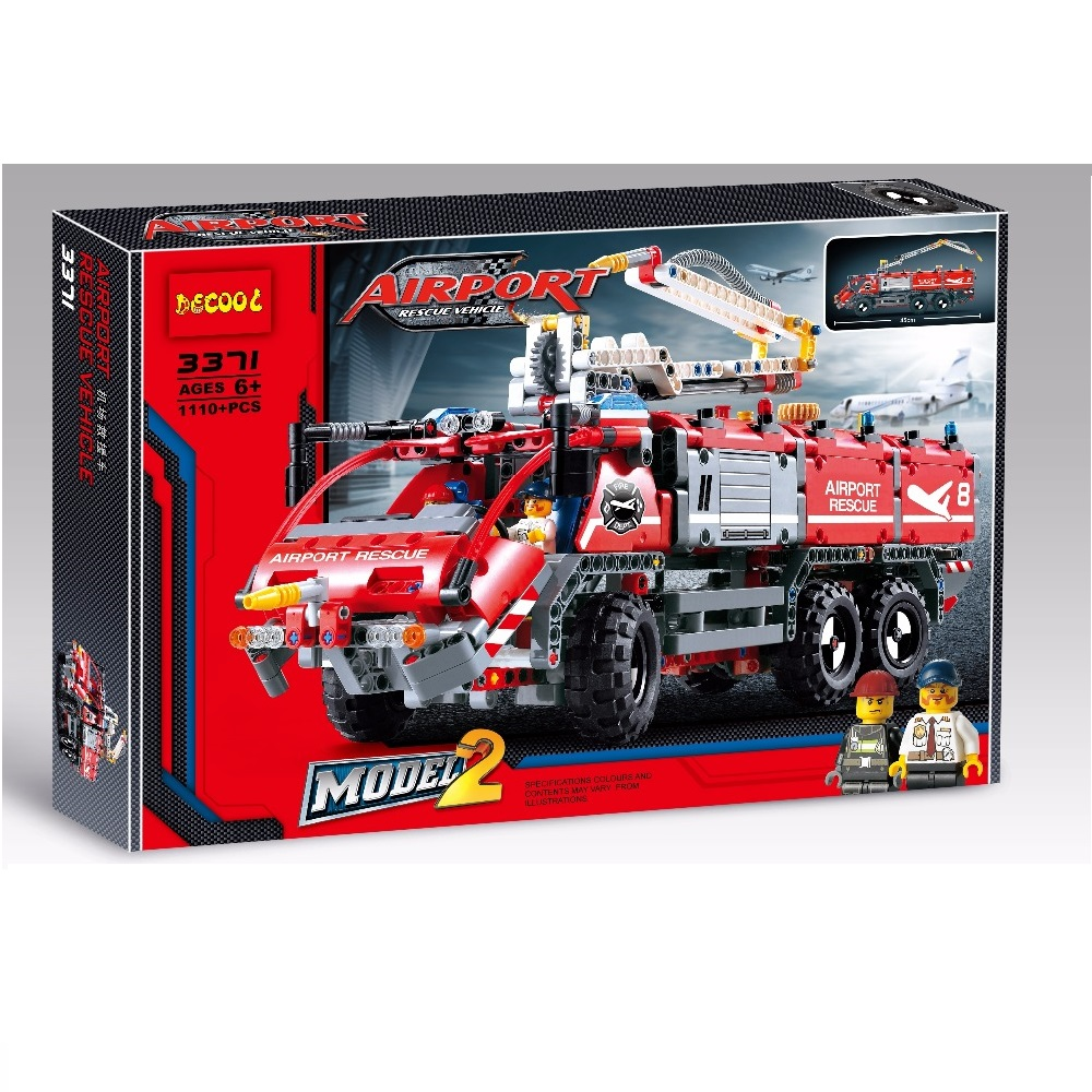 Decool city 3371 1110pcs Airport rescue vehicle technic 911 Fire engine car Toys building blocks bricks Fit for lego 42068 sluban b0367 aviation series international airport building blocks transport aircraft vehicle bricks toys