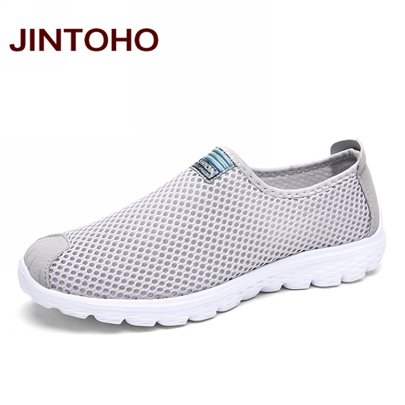 JINTOHO Unisex Summer Breathable Mesh Men Shoes Lightweight Men Flats Fashion Casual Water Shoes Brand Designer Male Beach Shoes tênis masculino lançamento 2019